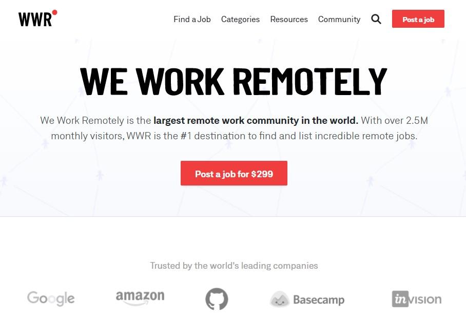weworkremotely homepage